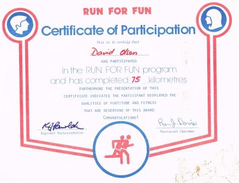 Certificate: Run for Fun, Participation, 75km