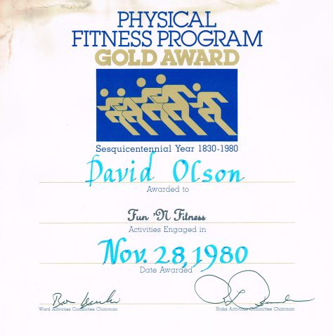 Certificate: Physical Fitness Program, Gold Award (Fun n Fitness) - context otherwise unknown