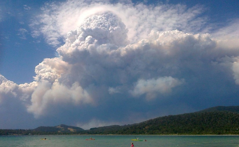 Pyrocumulonimbus clouds as a result of bushfires in Australia