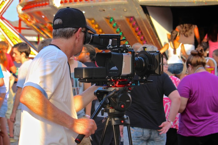 "Dave shooting with the Blackmagic Production Camera 4K at The Salem Fair for the short film ""This Is For Josephine Brown""."