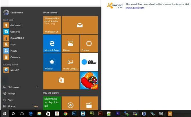 Windows 10 Start Menu Screenshot