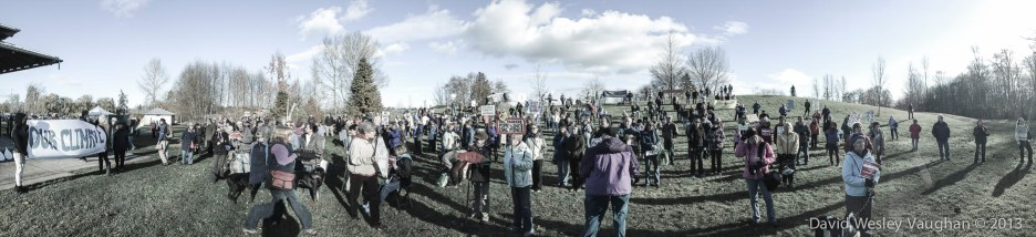 Simms park in downtown Courtney, B.C. with more than 300 Canadian activists, and me.