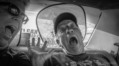Mike and I experience our first cab ride.