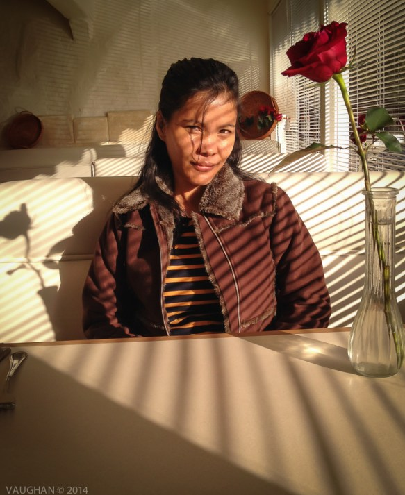 A quaint hotel in LA and the sad lobby waffle breakfast seemed perfect, just as the light appeared so perfectly on her face, the booth, the flowers and the stripes that she loves to wear.