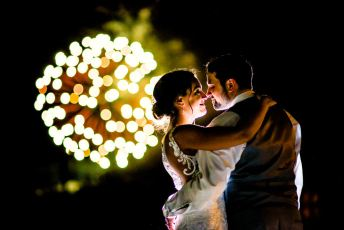 Wedding Portraits with Fireworks