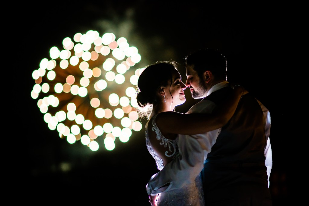 candid firework wedding photo