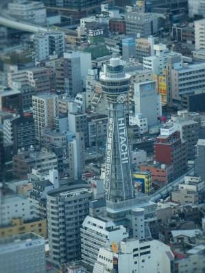 Tsutenkaku viewed from Abeno Harukas
