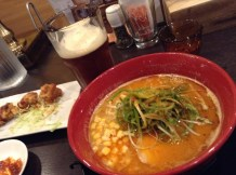 My delicious ramen dinner with karaage and IPA.