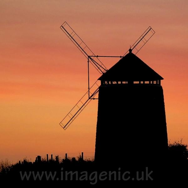 St Monans windmill at sunset