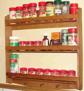 3 Tier Oak wood spice rack.