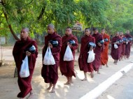 Monks returning from gathering alms in Heho