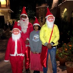 Santa and his helpers at our Christmas dinner.