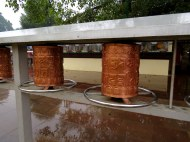 Prayer wheels at a Buddhist Temple in Varanasi.