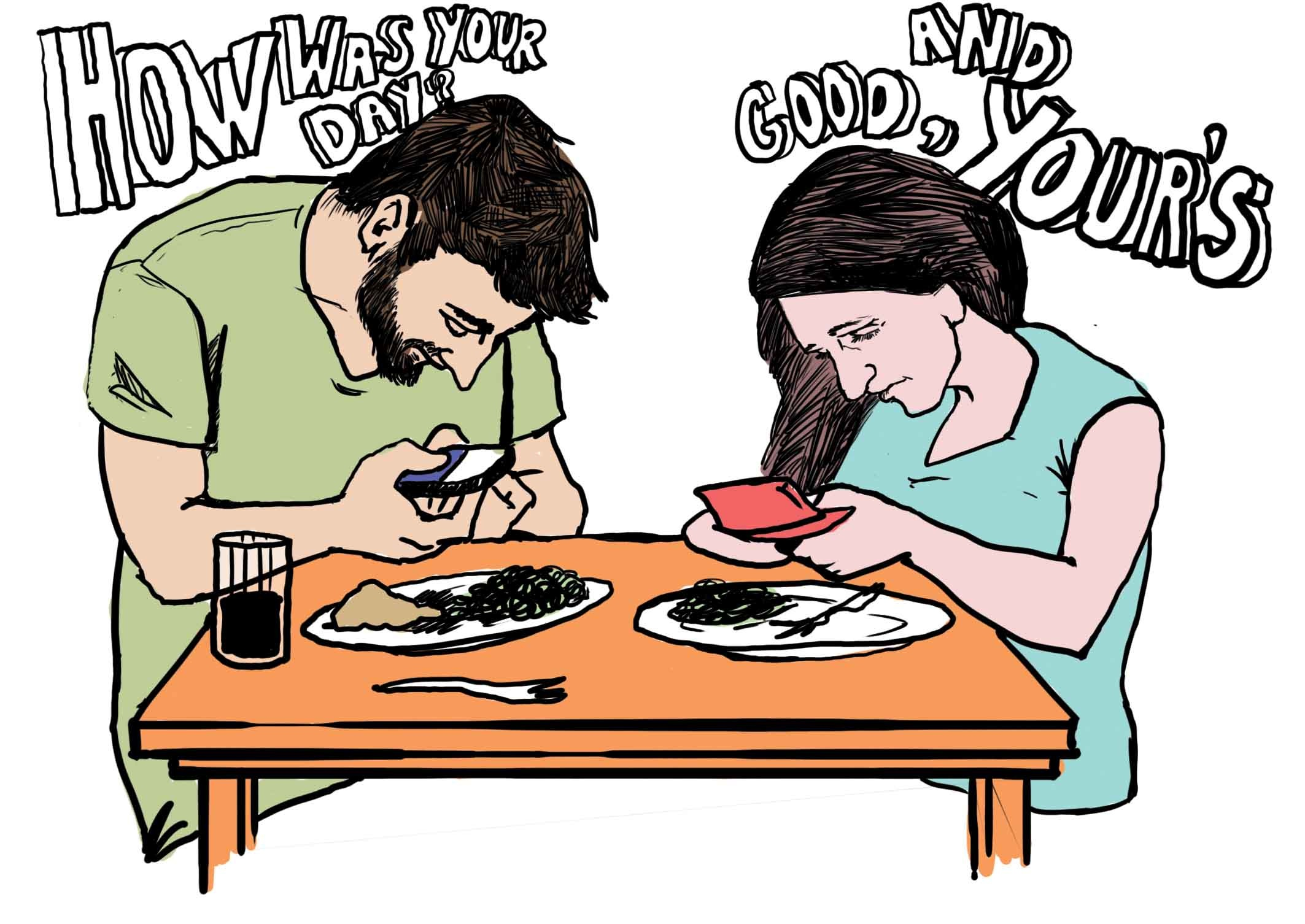 Texting while eating