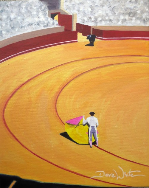 """spanish bullfight painting"", ""bullfight painting"", ""spain painting"", ""dave white artist"", ""spanish culture"", ""spain art"", ""bullfight"", ""bullfighting"""