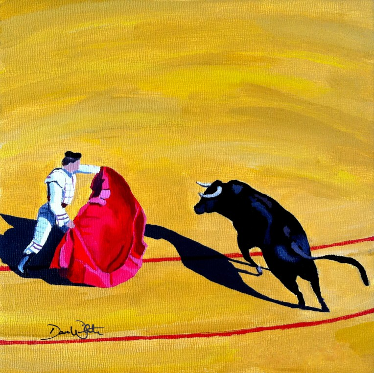 spanish bullfight, spanish bull, bullfight painting, bullfight art, spanish art, spanish painting, spain art, artist dave white