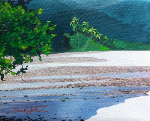 beach painting, painting for sale, artist dave white, costa rica, beach, oil painting, tropical, palm trees, seascape, art