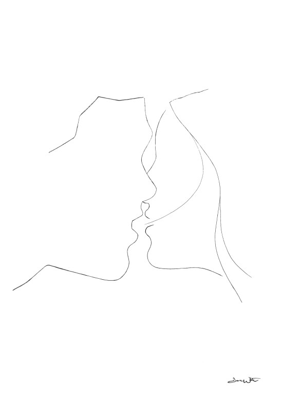 figurative drawing, romantic drawing, kissing drawing, kissing art, figurative art, line drawing, couple kissing art, dave white art, dave white artist