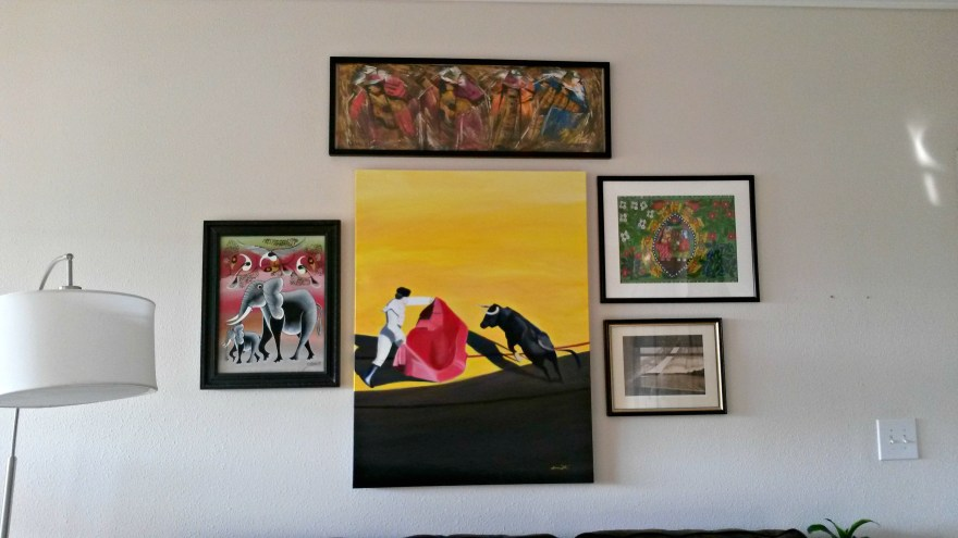 Spanish Bullfight Painting Hung in Home