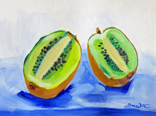 kiwi painting, fruit painting, fruit art, kiwi, kiwi art, fruit still life