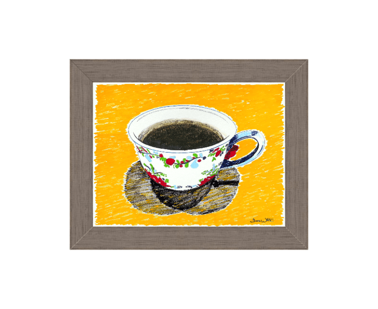 farmhouse coffee art, vintage coffee art, yellow coffee art, coffee painting, artist dave white