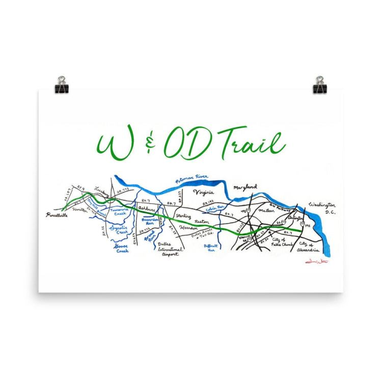 W&OD Trail map art