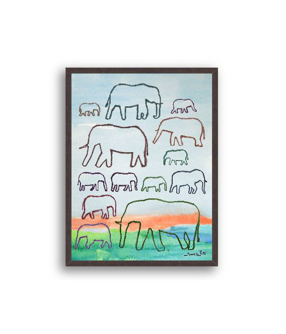 Elephants Watercolor Art Print
