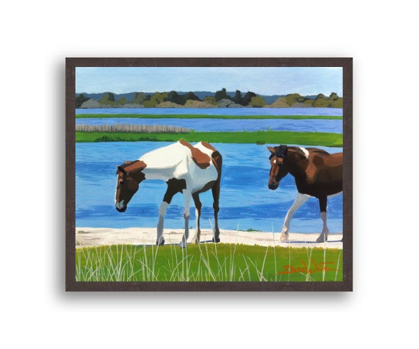 Assateague Horses Painting Black Stain Wood Frame