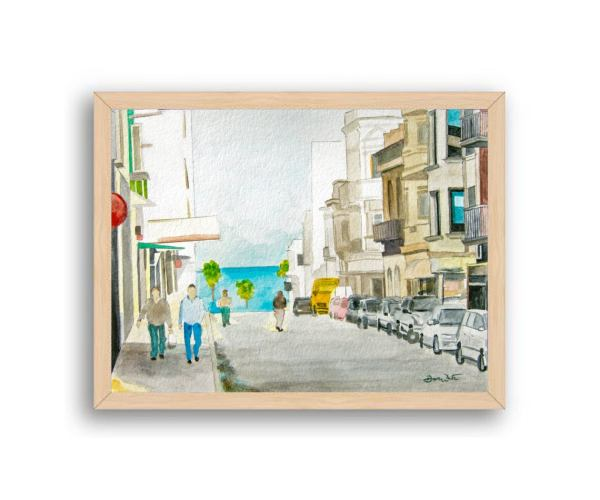 Montevideo Uruguay Painting Natural Wood Frame