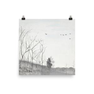 Winter Birds Landscape Painting