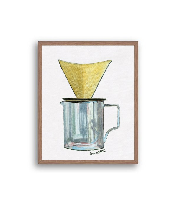Pour Over Coffee Painting Walnut Wood Frame