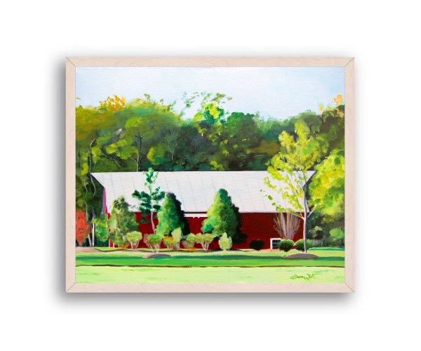 Red Barn One Loudoun Painting White Wood Frame