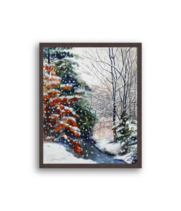 Winter Snow Forest Painting Black Frame