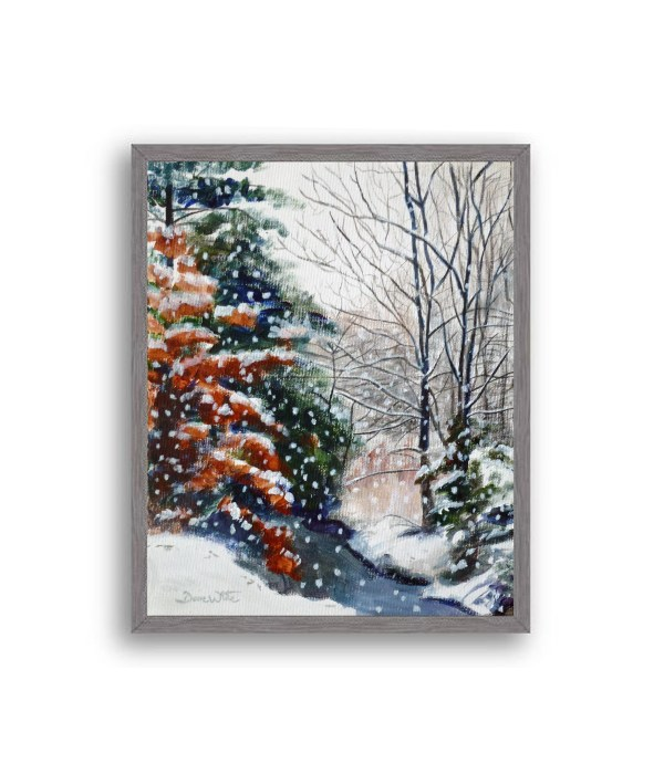 Winter Snow Forest Painting Charcoal Frame