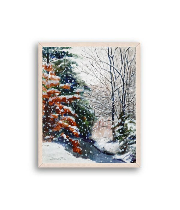 Winter Snow Forest Painting Off White Frame