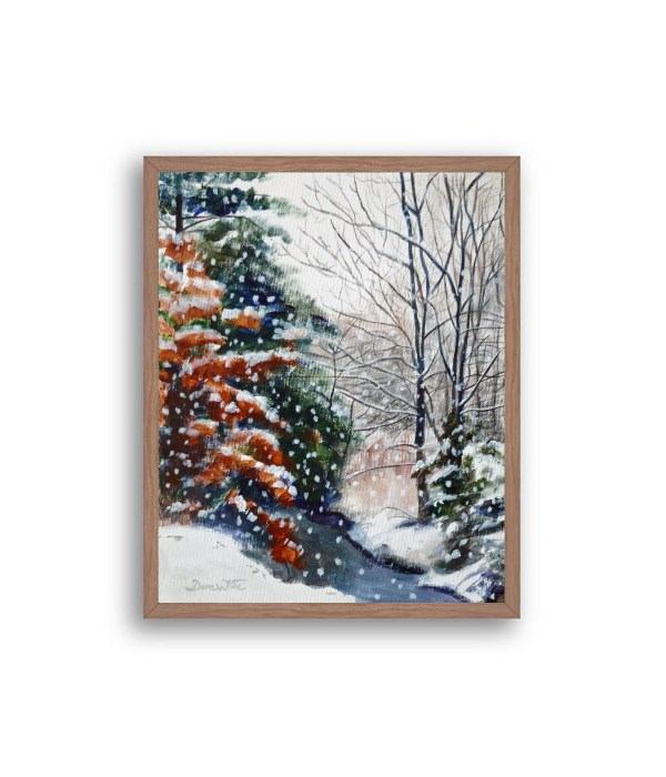 Winter Snow Forest Painting Walnut Frame