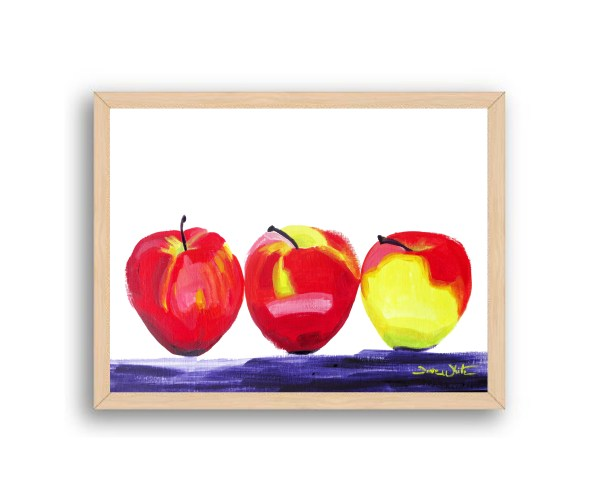 Apples Painting Natural Wood Frame