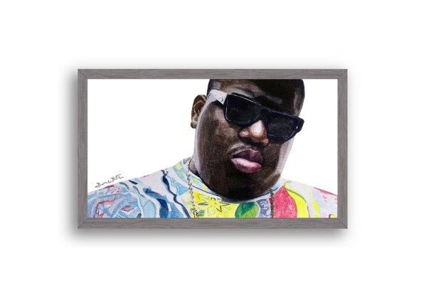 Biggie Smalls Portrait Painting Charcoal Frame