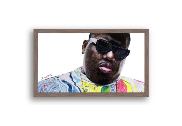 Biggie Smalls Portrait Painting Dark Walnut Frame