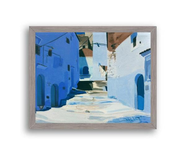 Chefchaouen Morocco Painting Art Print Grey Wood Frame
