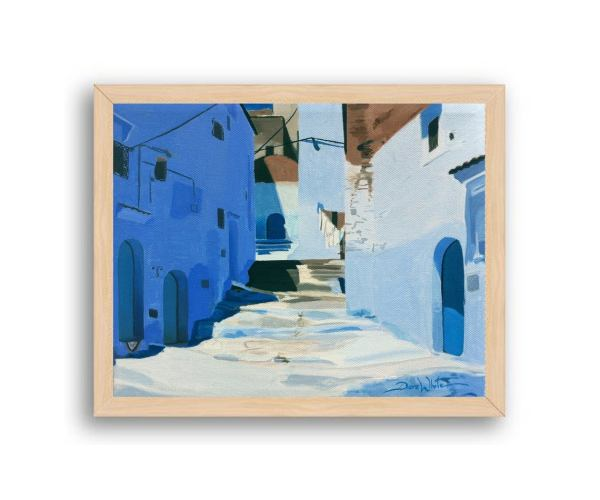 Chefchaouen Morocco Painting Art Print Natural Wood Frame