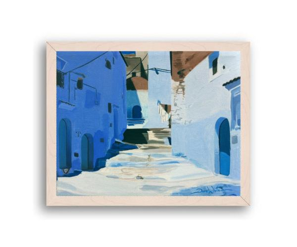Chefchaouen Morocco Painting Art Print Off White Wood Frame