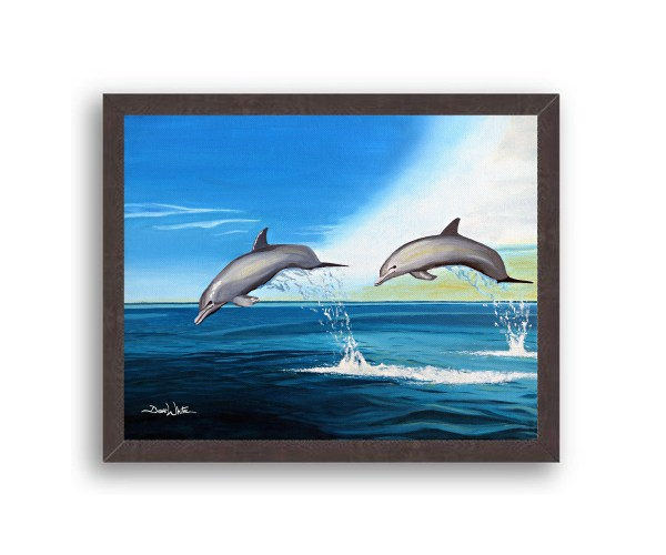 Dolphins Painting Black Frame