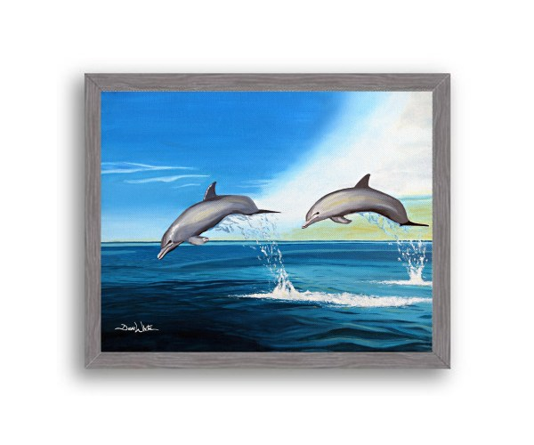 Dolphins Painting Charcoal Frame