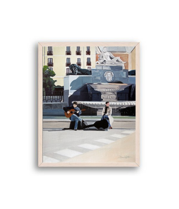 Madrid Plaza de Oriente Painting Off white Frame