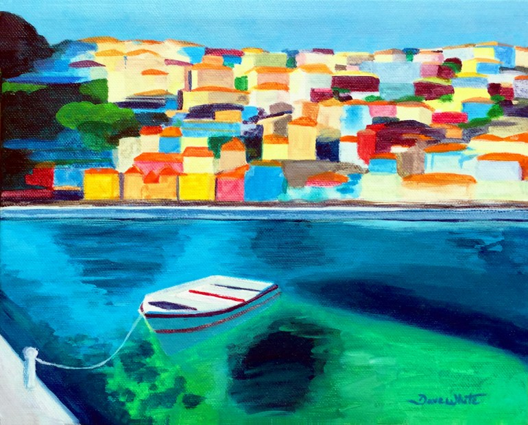 Original Painting Mediterranean Village and Boat Nautical Art