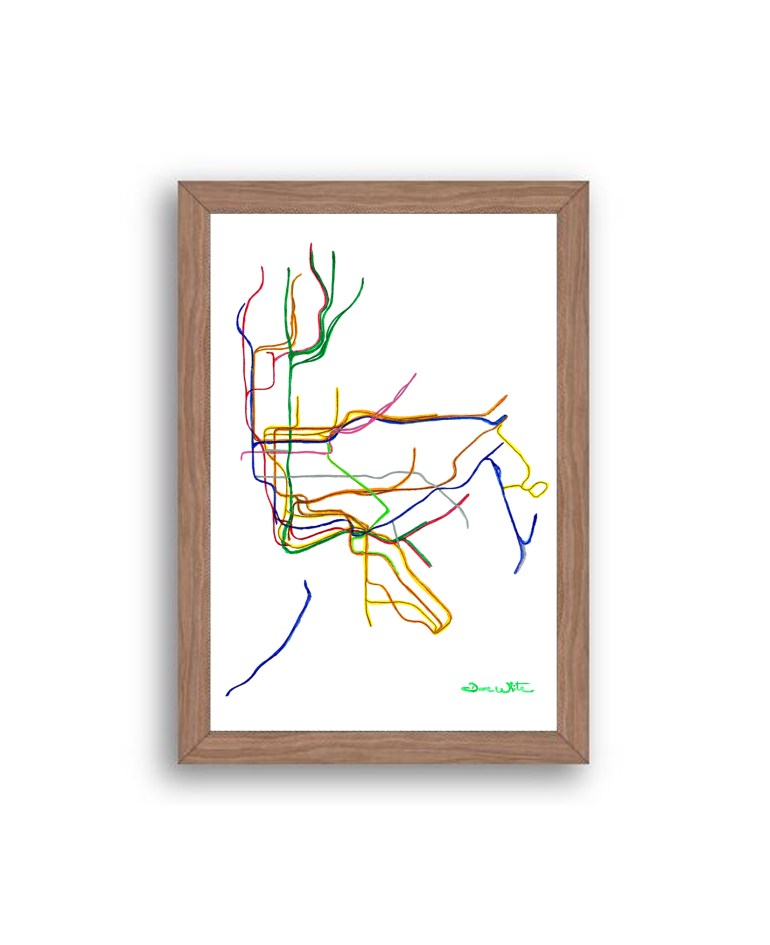 NYC-Subway-Map-Art-Print-Walnut-Frame