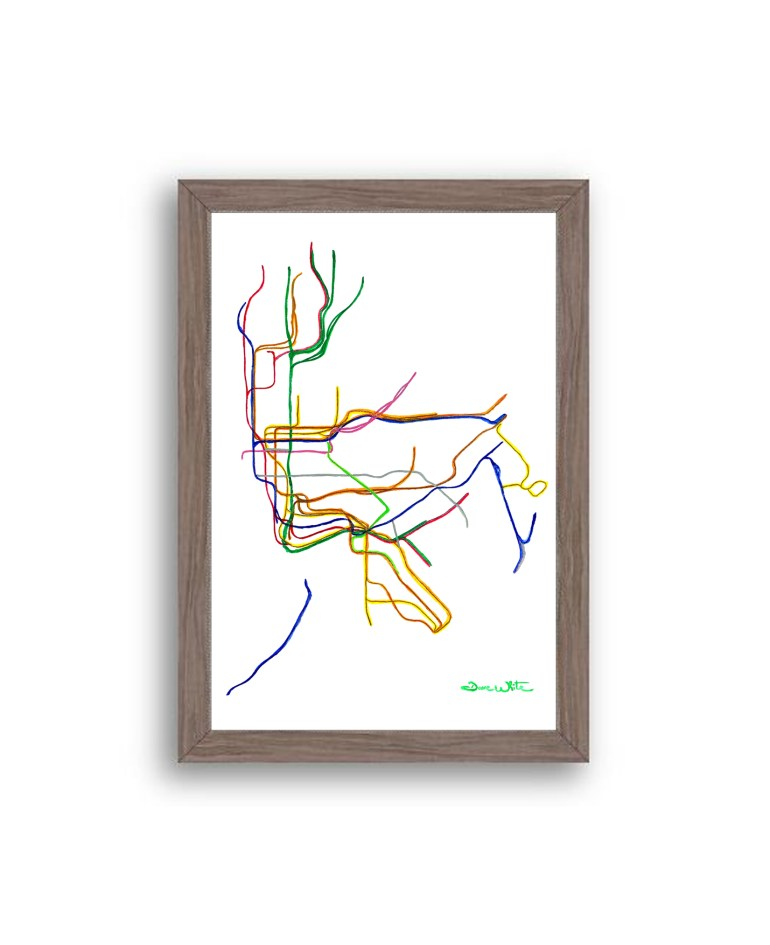 NYC-Subway-Map-Art-Print-Dark-Walnut-Frame