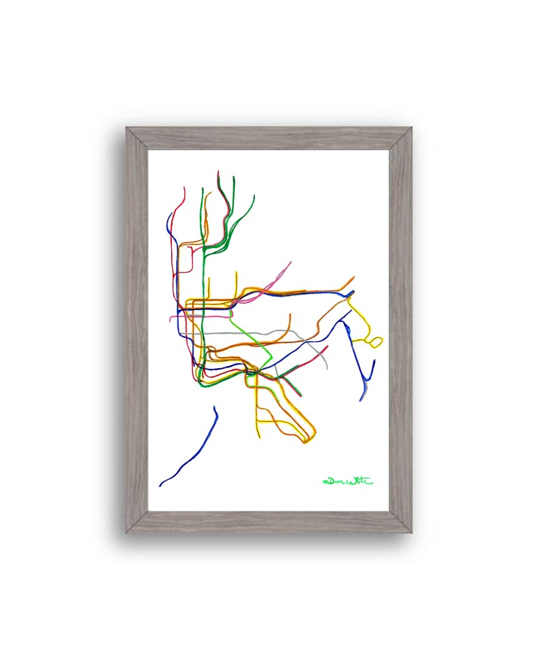 NYC-Subway-Map-Art-Print-Grey-Frame