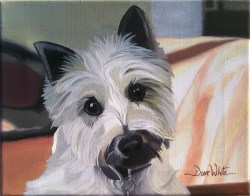 """dog painting"", ""pet painting"", ""animal painting"", ""white dog"", ""dog portrait"", ""pet portrait"", ""pet art"", ""dog art"", ""dave white painting"", ""dave white art"""